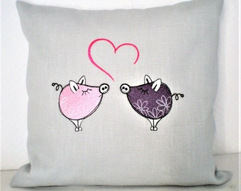 Valentine's Day Pillow Pig Love 30 x 30 cm embroidered with filling.