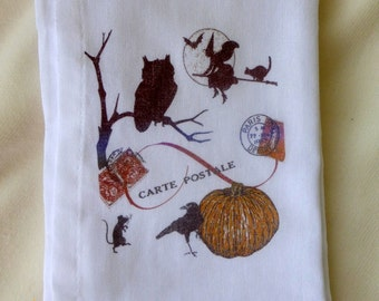 Halloween Flour Sack Towel - Tea Towel - Flour Sack Towel - Kitchen towel - Hostess Gift - dish towel - 100% cotton