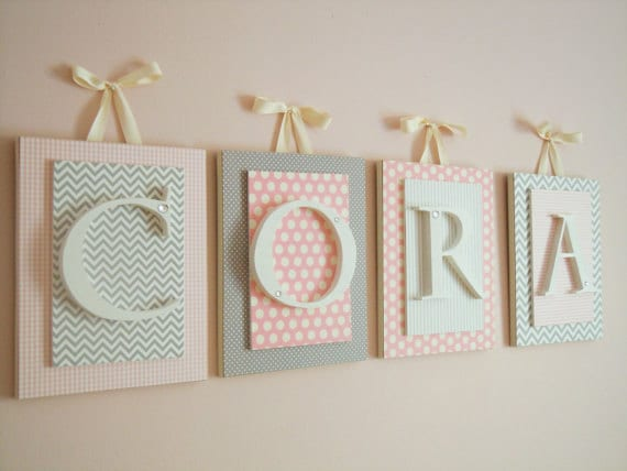 How To Decorate Wooden Letters For Nursery: Nursery Letters Custom Initials Personalized Wooden Letters