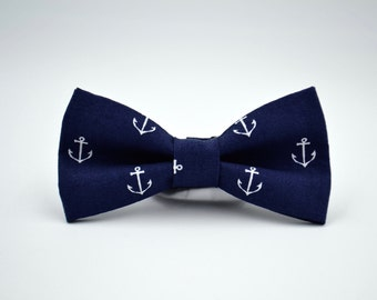 Bowtie- Navy Blue with White Anchors