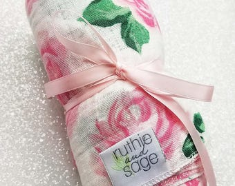 Swaddle blanket, wrap, double gauze, newborn blanket, floral swaddle, newborn photography, baby blanket, baby girl, Vintage Rose, Pink White