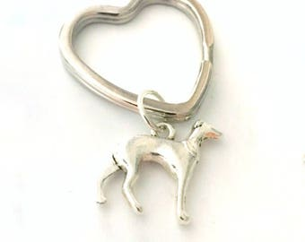 Whippet Key ring, Dog Lovers Gift, Greyhound Key ring, Pointer key ring, Irish wolfhound key ring, Silver Plated Dog Lovers Heart Keyring