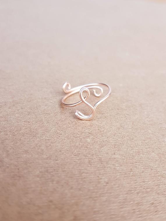 Ersten Ring Buchstabe S Ring personalisierte Draht erste Ring