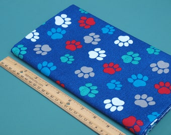 1/2 Yard Novelty Cotton Fabric Paw Prints On Navy NEW