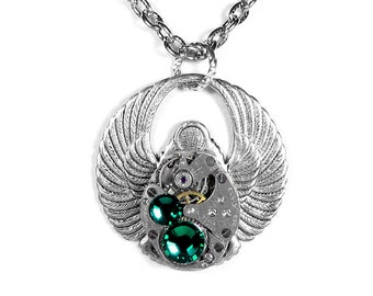 Steampunk Jewelry Necklace Vintage Jeweled Watch Steam Punk SCARAB EMERALD Crystals Anniversary Holiday Unisex Gift - by SteampunkBoutique