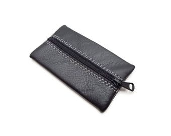 Leather Coin Purse. Black leather