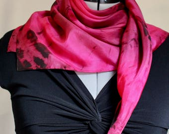 "Wine, Burgundy, and Black 30""x30"" Silk Scarf 4001"