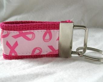 Mini Key Fob - Breast Cancer Ribbon - Small Pink Key Chain - Support Key Ring - PINK Zipper Pull