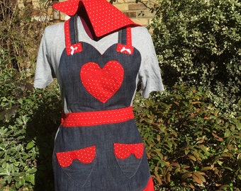 Denim with red accents retro style apron