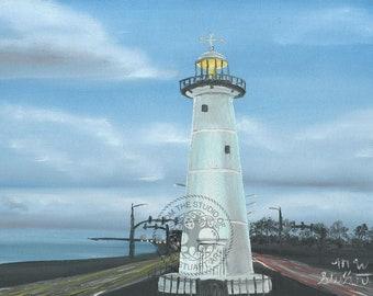 "Original Oil ""Biloxi Lighthouse Morning"" by M.W. Stuart"