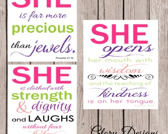 Bible Verse, Scripture Printable Proverbs 31 Set of 3, Proverbs 31:25, Proverbs 31 10, Proverbs 31 26, DIY, Teen girl, Children's room print