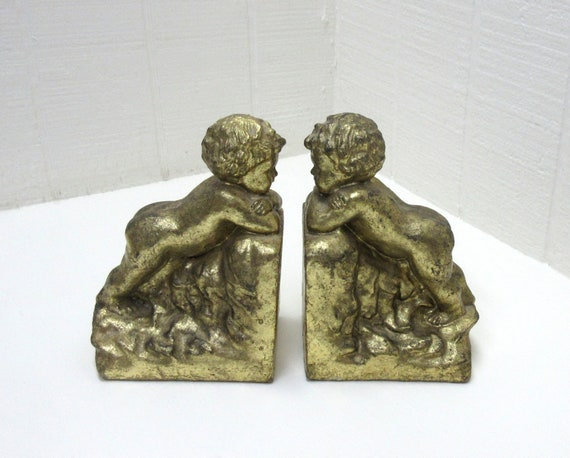 Vintage Cherubim Bookends Gold Tone Cherub Bookends Chalkware / Ceramic Figurines