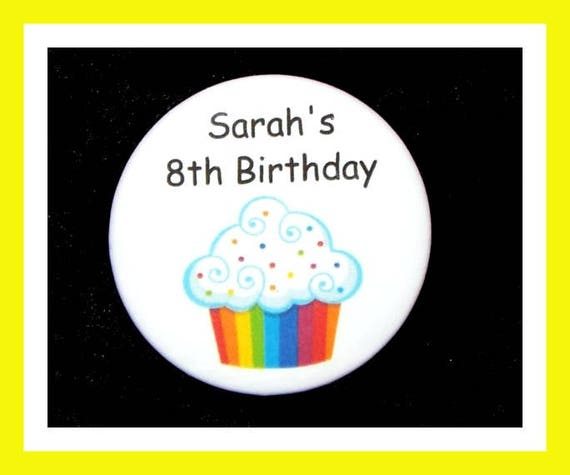 Birthday Party Favors, Personalized Button,Cupcake Pin Favor,School Favors,Kids Party Favor,Boy Birthday,Girl Birthday,Pins, Set of 10