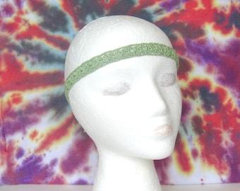 Light Green Boho Crochet Headband, Hippie Headband, Boho Hair Accessory, Festival Headband