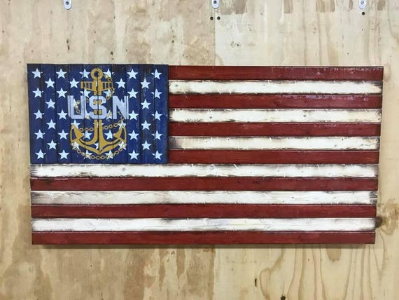 Rustic Wooden American Flag with United States Navy Emblem