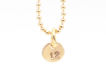 Seattle Seahawks Necklace | TINY Gold 12 Stamped Necklace | 12th Man Necklace | Gold Seahawks Necklace