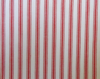 56 Inch Wide Yarn Dyed Cotton Red and White Ticking Stripe Fabric By the Yard