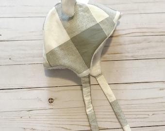 Baby Bonnet-Winter Baby Bonnet-Ears Bonnet-Plaid Bonnet-Boy Hat- Baby Boy Hat-Bear Ears-Cotton Baby Bonnet