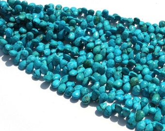 10 Pcs 7x9 - 7x11mm Turquoise Faceted Pear Briolette, Turquoise Faceted Pear Shape Beads / Gemstone Briolette Beads