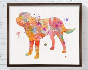 Saint Bernard Watercolor, Saint Bernard Art Print, Saint Bernard Painting, Dog Wall Art, Kids Room Decor, Childrens Room Decor, Colorful Dog