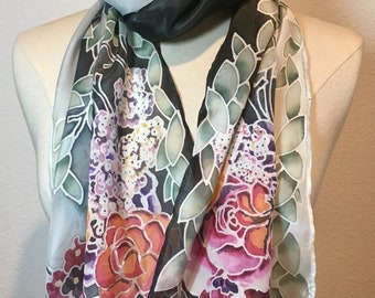 Shady Floral Garden, black and olive green silk scarf, oblong hand painted silk crepe de chine scarf