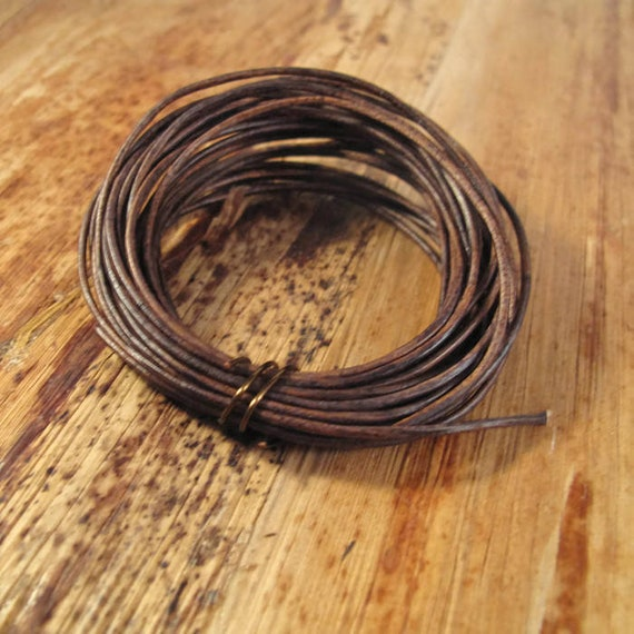 Natural Brown Leather, Antique Brown Round Leather, 1.0mm, 9 Foot Coil, Wrap Bracelets and Jewelry Making, 9 Feet of Leather (L-mix11b)