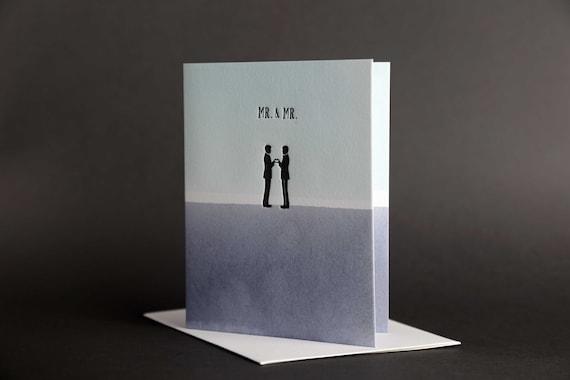 "Dip Dye: ""Mr. & Mr."" Wedding Love Letterpress card"