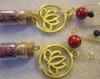 KIT EARRINGS * Red Lotus Flower * gold plated hooks