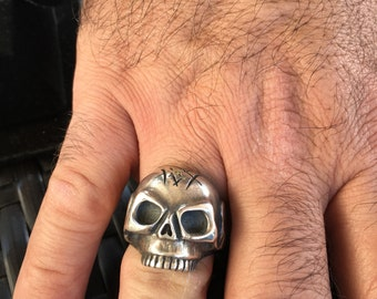 Sterling silver flame skull   Made in the USA