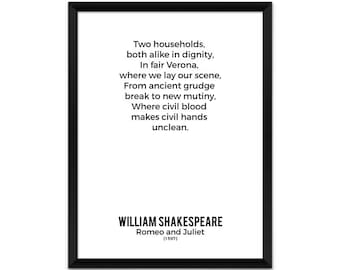 Shakespeare Poster, Romeo and Juliet, Art Print, Minimalist Poster, Print, Bookish, Gift, Literary Gifts, Wall Art Prints, Book Lover Gift