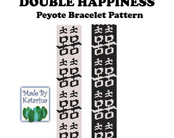 Peyote Pattern - Double Happiness - INSTANT DOWNLOAD PDF - Peyote Bracelet Pattern - Calligraphy - Chinese Sign - Black and White