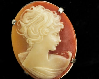 Cameo Brooch and Earrings 1940s Plastic Silver Tone Vintage