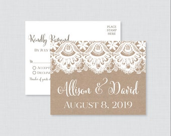 Printable OR Printed Wedding RSVP Postcards - Burlap and Lace RSVP Postcards - Rustic Wedding Response Postcards, Invitation Insert 0002
