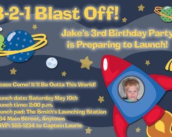 Outer Space Printable Birthday Party Invitation -- Rocket Ship -- Astronaut -- Photo -- Custom Digital File