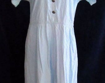 80s Vintage Womens Pinstripe Dress Sky Blue A Line Short Sleeve Size Large