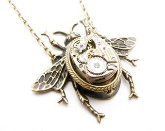 Steampunk Brass Mechanical Bee Necklace