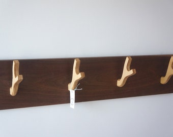 Walnut and Birch Wood Antler coat rack