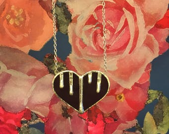 Bleeding Heart Stained Glass Necklace