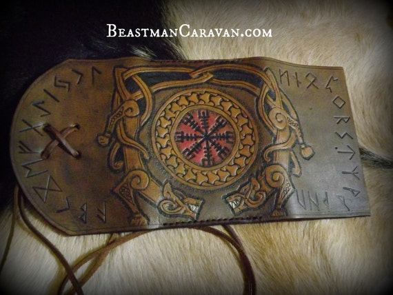 Viking Leather Journal / Moleskin Cover Portfolio Wraparound Style 3.5x5.5 with Wolves and the Helm of Awe and Runes