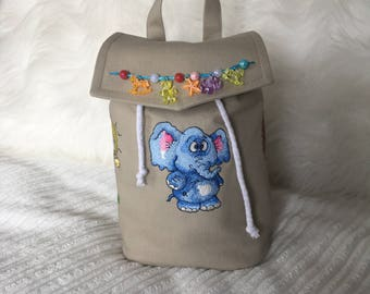 Kids Backpack-Embroidered Backpack-Embroidered Tiger,Elephant and Giraffe-  For Girls At Age 3-5