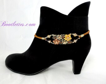 Boot Bracelets, Gifts for Women, Boot Jewelry, Boot Accessories, Boot Bling, Golden Blossoms, Gifts for Her, Cowgirl Boot Chains