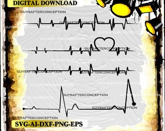 Four Heartbeat Lines Vector Image SVG Files Digital Cutting Files  Ai - Eps - PNG - DXF - Svg - A1
