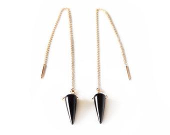 Gold Onyx Threader Earrings