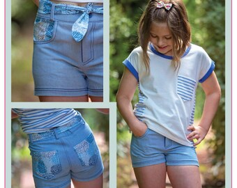 Girls shorts sewing pattern SANDY BAY Shorts, classic jeans-style shorts pattern sizes 2 to 14 years, kids summer shorts