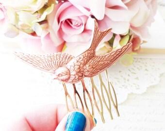 Rose Gold fliegen Sparrow Haar Kamm - Schwalbe Haarkamm - fliegende Vogel Haarkamm - Wald - Hochzeit Haarkamm - Rose Gold Vogel Haarkamm