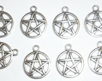 10 x Pentagram Charms *20mm*Tibetan Silver*et*