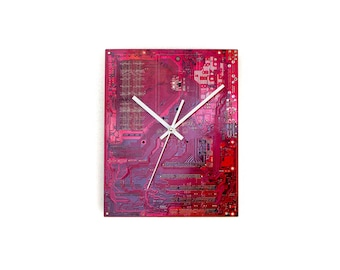 Large Red Wall Clock, 12'' Industrial Wall Decor, Gift Idea for PC Geek, Anniversary Present for Boyfriend Husband, Motherboard Wall Clock