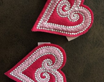 Pair of Valentine's Day Swirl Heart Feltie Hair Clips Hot Pink, Pink and White Embroidery