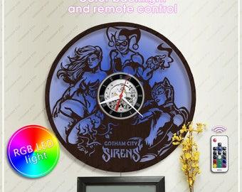 Harley Quinn Clock| DC Comics Clock| Poison Ivy Wooden Clock with Backlight| Batman Gift| Wall Clock *w069 Catwoman Clock| DC Style Decor