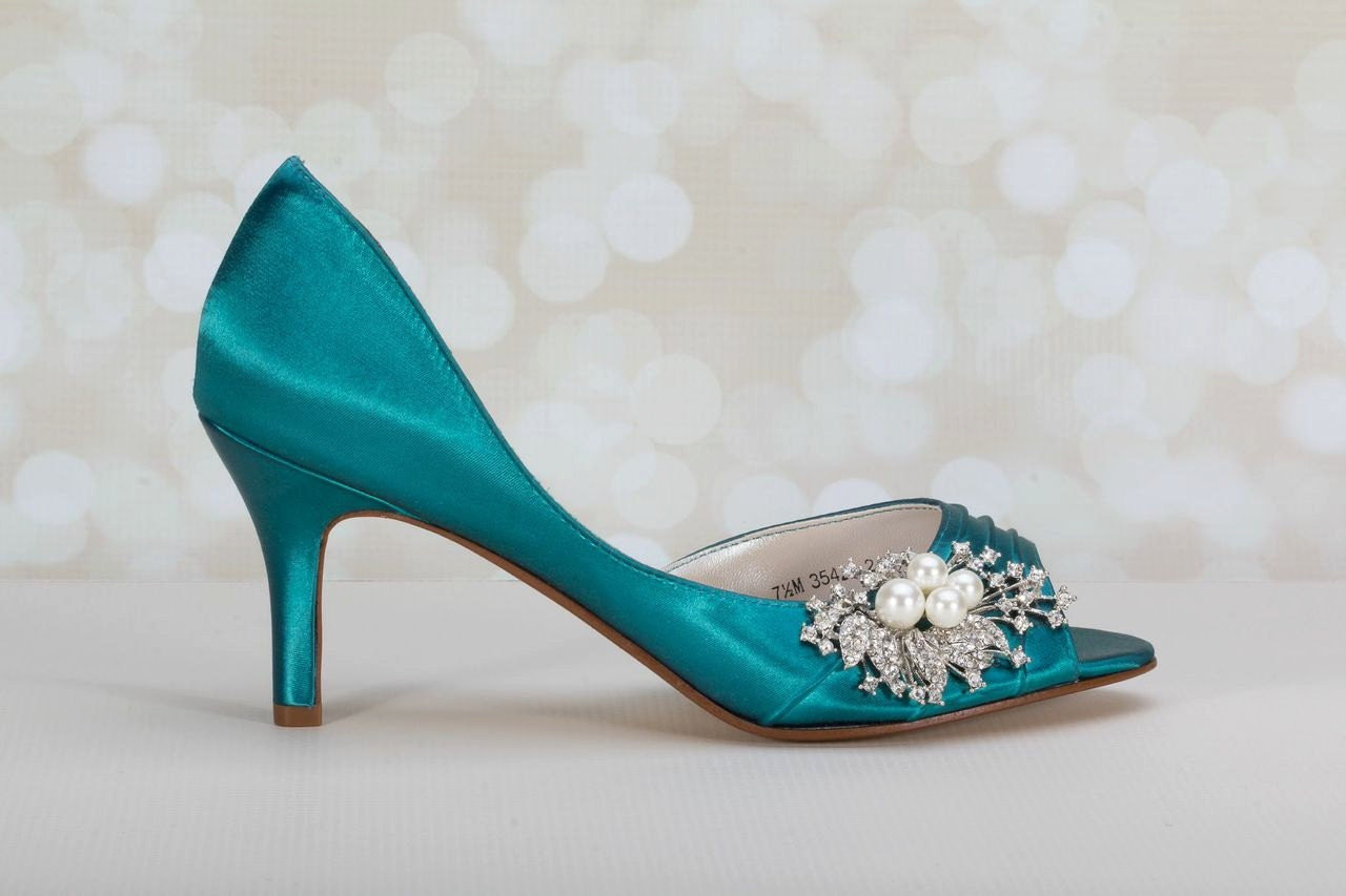 Wedding Shoes Peacock Pearl Crystal Embellishment